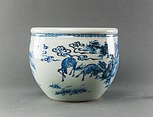 19th Century. A Blue And White 'Deer And Landscape' Jar