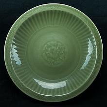 Ming-A Longquan Celadon  Glaze Flora Plate