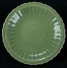 Southern Song/Early Ming.A Longquan Celadon  Glaze Floral Rim Plate