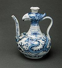 A Blue And White 'Dragon and Phoenix Head' Tea Pot