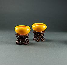 Republic. A Pair Of Yellow Glass Brush Washers