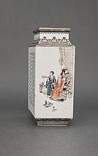Republic.A Famille-Rose ' Landscape Sense' And Calligraphy 'Figure & Treasure' Prismatic Vase