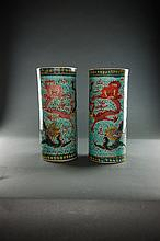 Late Qing. A Pair Of Famille-Rose 'Dragon' Head Holders