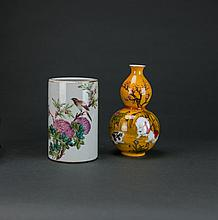 Early 20th Century. A Famille-Rose Glaze 'Birds & Flower' Brush Holder And A Small Double-Gourd Vase