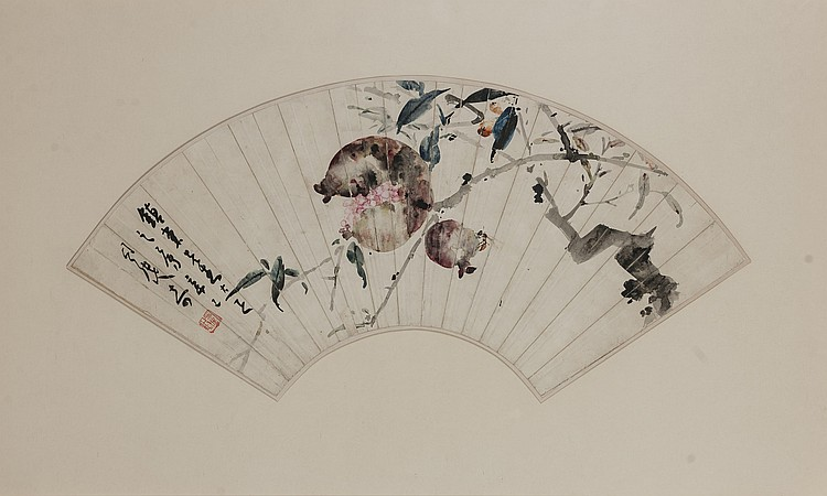 Republic- Situ Qi (1904-)--Ink and color on paper, fan painting. Signed and seal