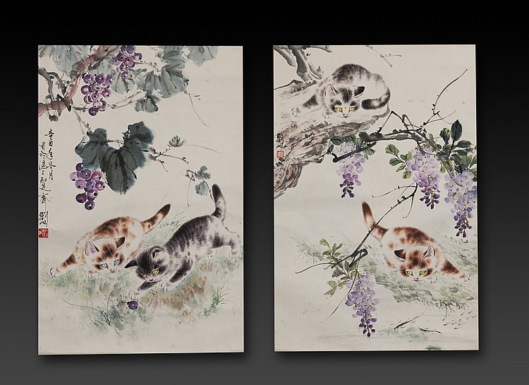 Liu Qi - Two painting of Cat-Ink and color on paper , hanging scroll.