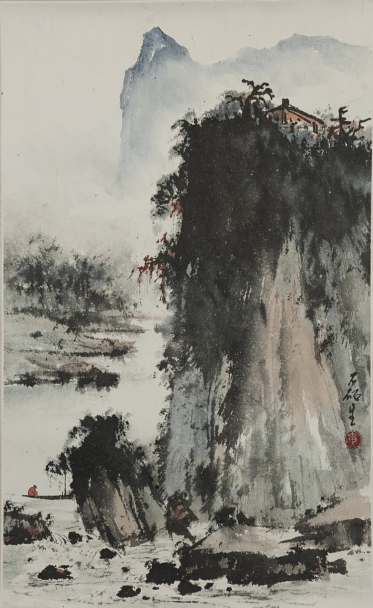 Huang Lei Sheng (1928-2011) Landscape-Ink and color on paper, unframed. Signed and seal.