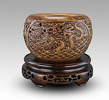 A Ceramic Carved 'Dragon' Water Pot By Yang Rongmei With Wood Stand