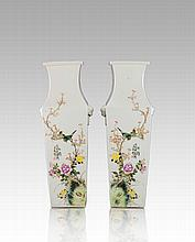 A Pair Of Famille Glaze 'Birds And Flowers' Vases