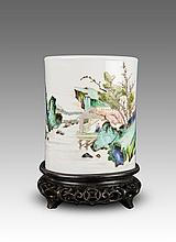 Late Qing/Republic-A Beautiful Famille Glaze 'Landscape' Brush Holder