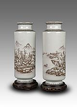 A Pair Of Famille Rose 'Landscape' Porcelain Vases By Wang Shaoping