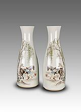 Wang Qi Mark-A Pair Of Famille Rose Horse Shower Vases