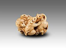 Late Qing/Republic-Japan-An Ivory Carved 'Rats'Netsuke With Mark