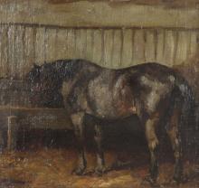 """HERMANUS CHARLES CHRISTIAAN BOGMAN (1861-1921) OIL ON PANEL """"THE HORSE"""""""