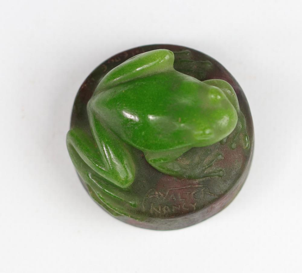"""ALMARIC WALTER AND HENRI BERGE Paperweight. """" FROG """". Nancy yellow speckled green glass paste proof."""