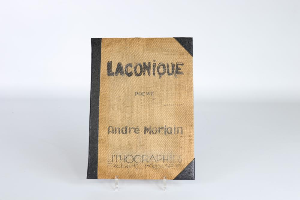 """Bouquin """"Laconique"""", Rare work, poems by Andre Morlain and original lithographs and prints on hand p"""