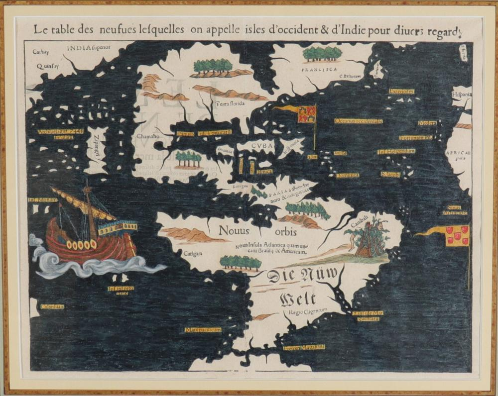 Sebastian MUNSTER (1488-1552) map Sizes: Cadre H=540mm L=620mm Carte H=275mm L=370mm Weigh