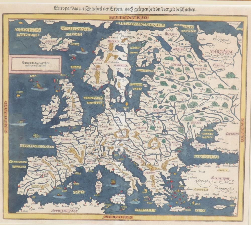 Sebastian MUNSTER (1488-1552) map Sizes: Cadre H=590mm L=630mm Carte H=335mm L=380mm Weigh