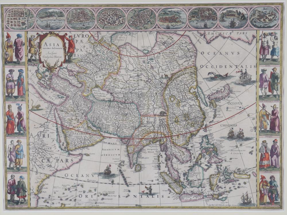 "Willem Janszoon BLAEU (1571-1638) ""map of Asia"" Sizes: Cadre L=850mm H=710mm carte L=560mm H=42"