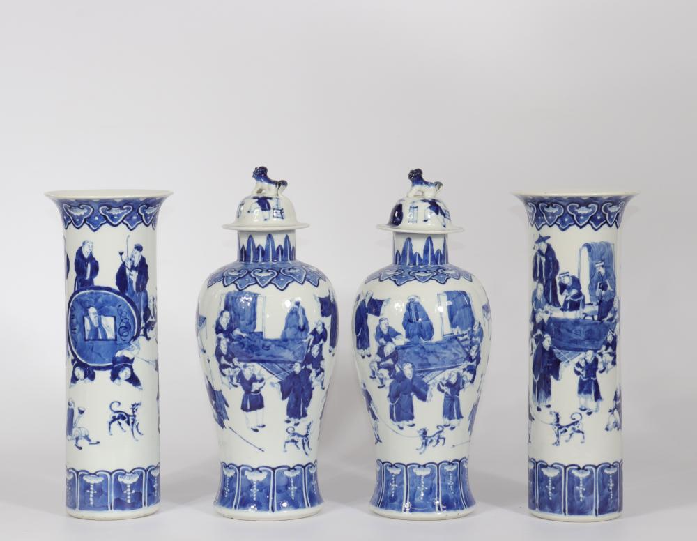 China covered vases and white blue porcelain vases decor of characters mark Kangxi Sizes: Potic
