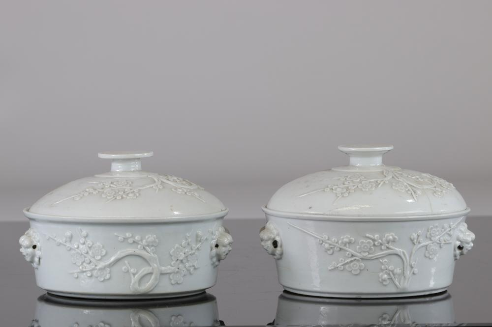 China dish covered in white (2 pieces including one restored) from china decor apple blossoms Qing d