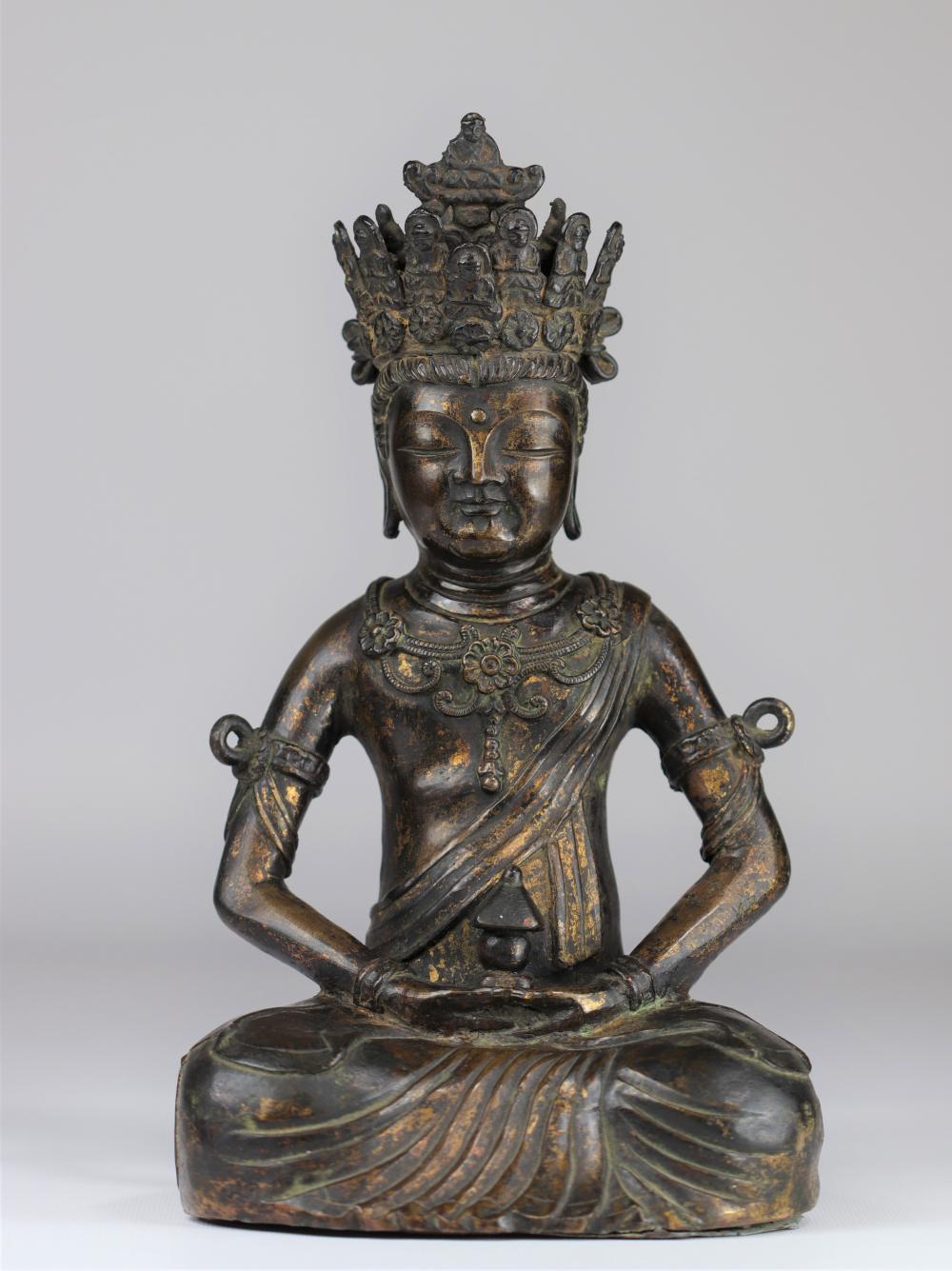 "China imposing ""gilded"" bronze Buddha Ming period Sizes: H=320mm L=180mm Weight (K): 4,66k"
