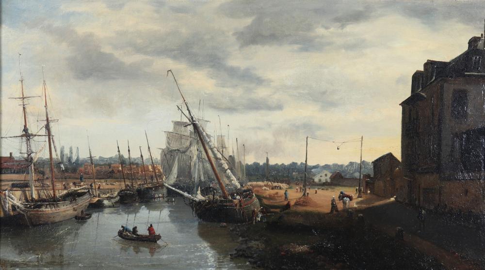 """Louis LOTTIER (1815-1892) """"The port"""" Sizes: Cadre L=790mm H=540mm Peinture L=590mm H=330mm"""
