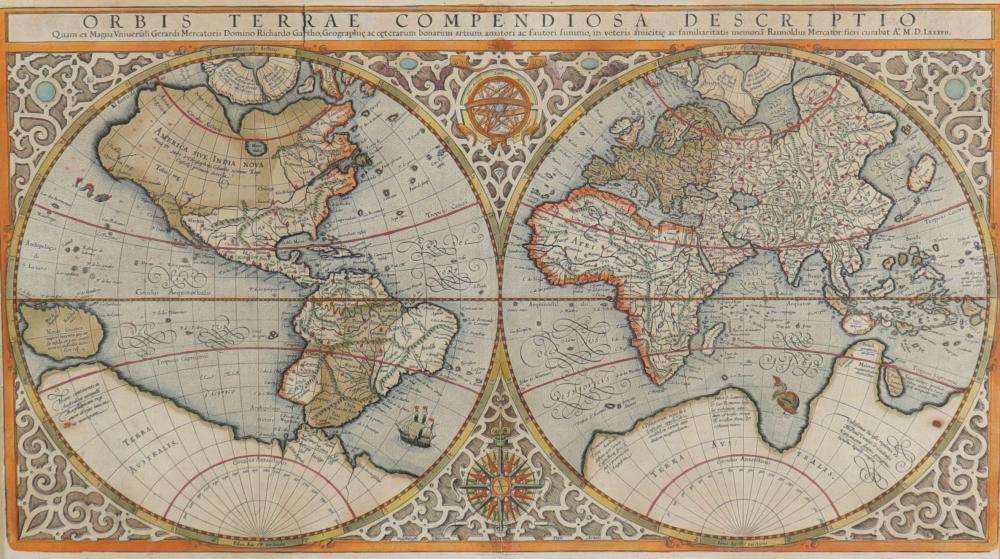 Gerhard MERCATOR (1512-1594) land map Sizes: Cadre H=570mm L=775mm Carte H=300mm L=530mm W