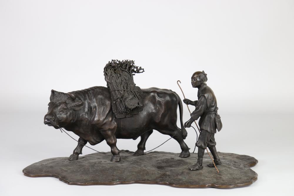 """Japan imposing bronze group """"peasants and ox"""" 19th Sizes: H=250mm L=450mm Weight (K): 7,4k"""