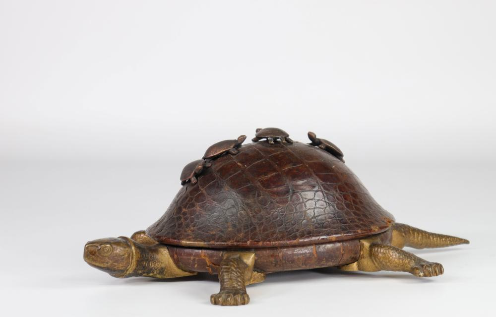 Japan turtle shaped box with leather shell topped with young turtles Sizes: H=120mm L=350mm