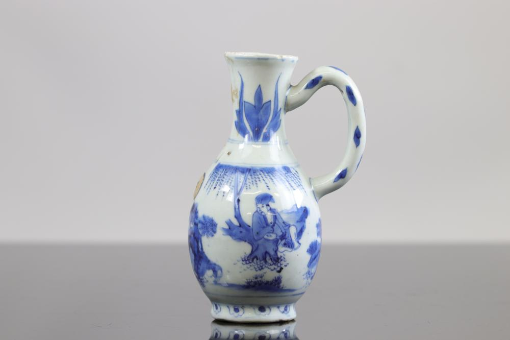 China, White blue porcelain jug, China transition period Sizes: H =178mm Weight (K): 0,415