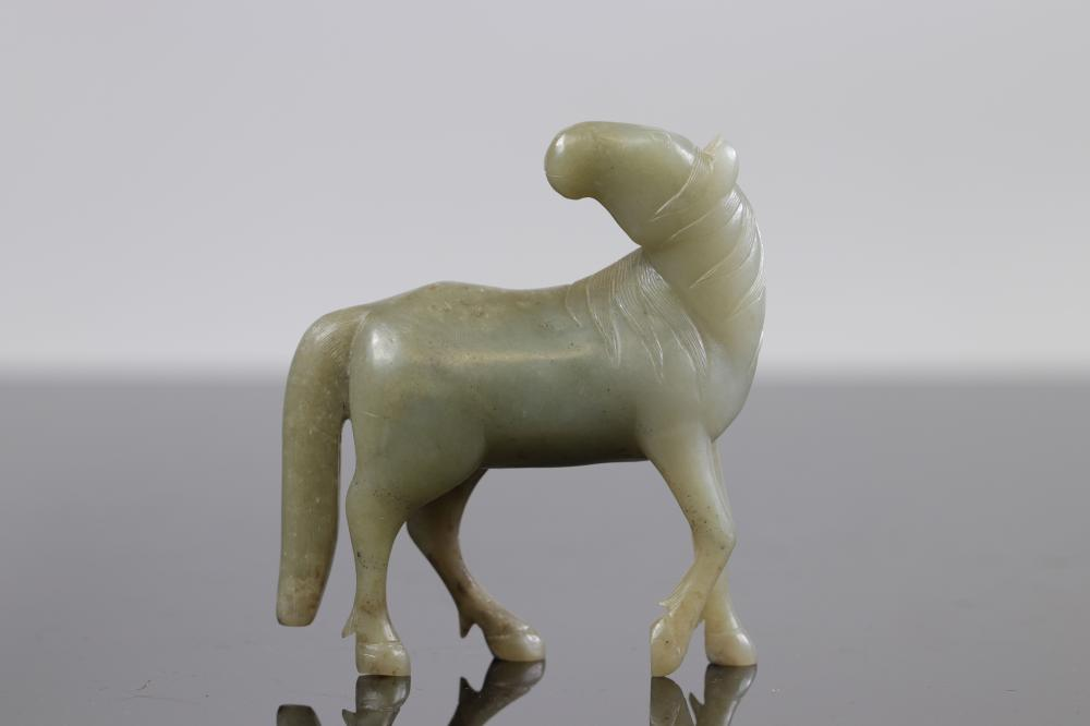 China, Jade Horse, Qing Period Sizes: L =103mm H =118mm Weight (K): 0,358kg Condition