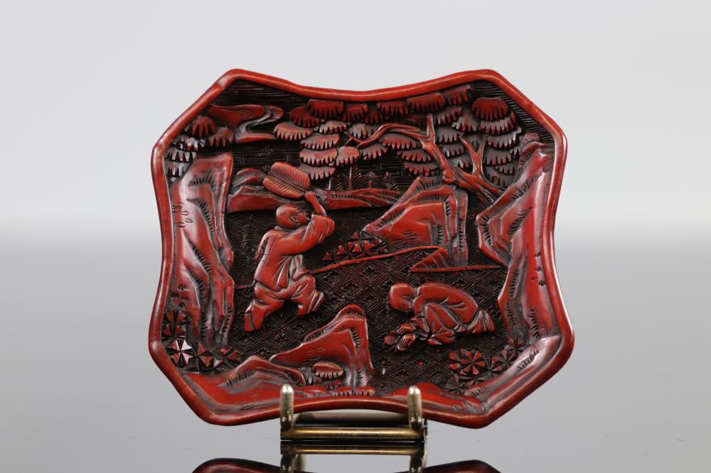 China, Cinnabar lacquer tray, vintage. Ming Sizes: L =94mm l =83mm Weight (K): 0,81kg