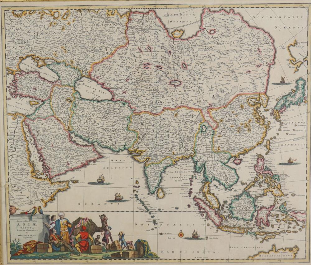 Frederik DE WIT (1610-1698) map of Asia Sizes: Cadre H=720mm L=820mm Carte H=500mm L=590mm