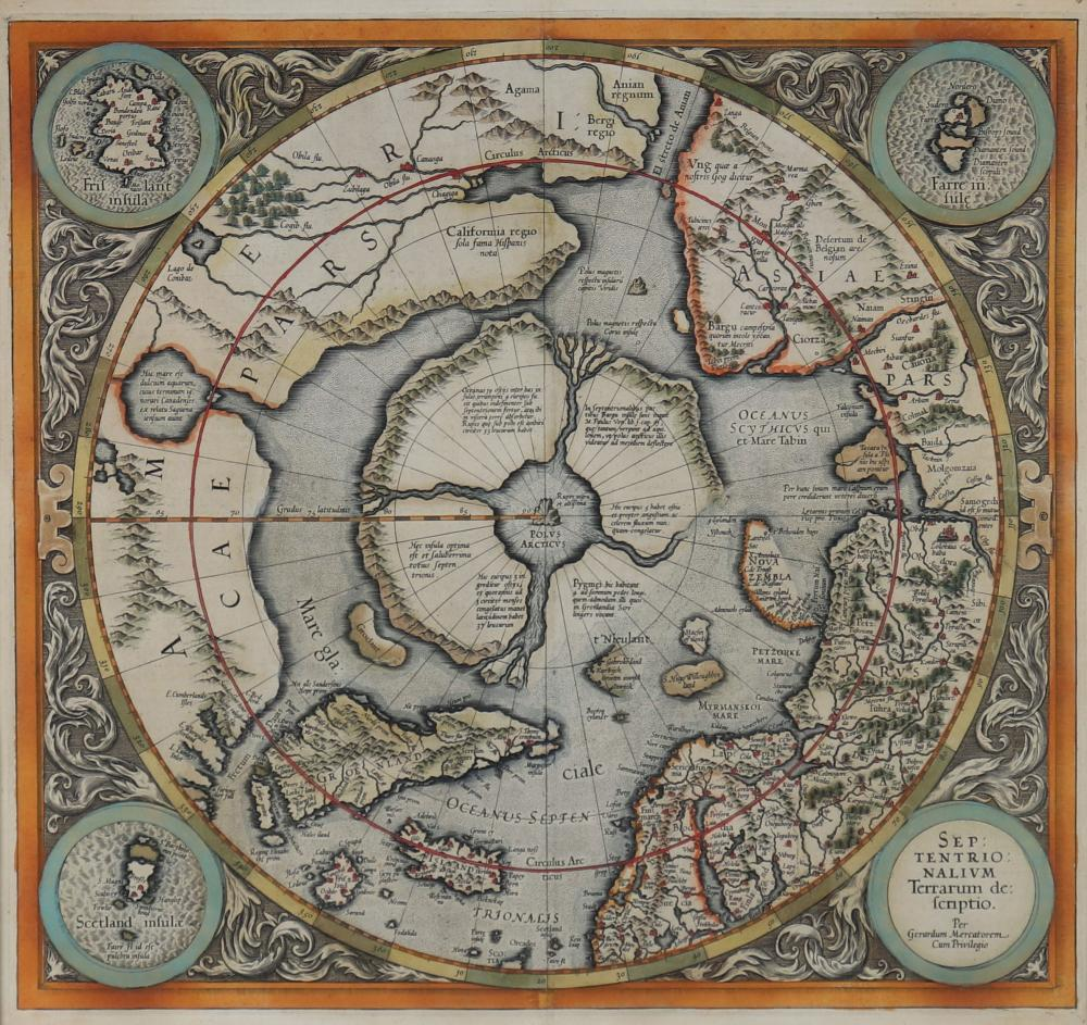 Gerhard MERCATOR (1512-1594) polar circle card Sizes: Cadre H=630mm L=645mm Carte H=380mm L=400