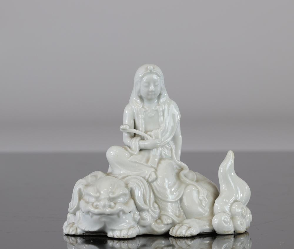 China guanyin on a white Fo dog from China Qing dynasty Kangxi period Sizes: H=110mm L=120mm