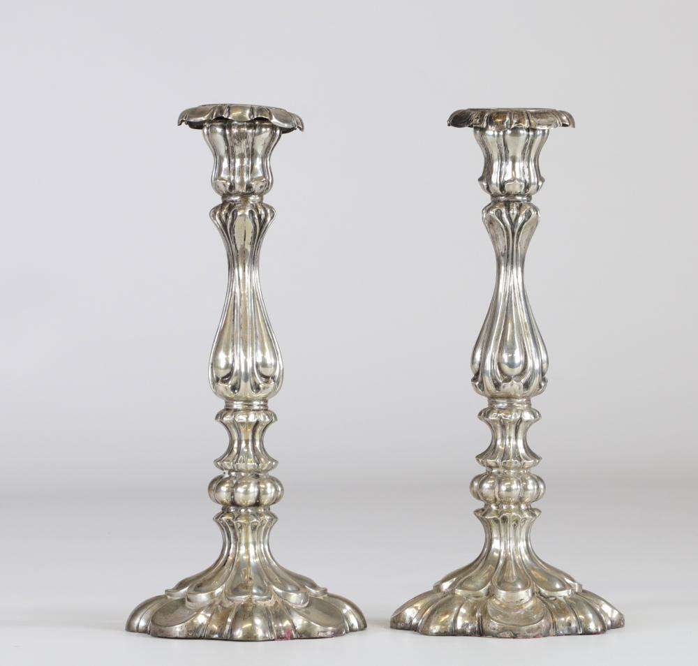 Pair of sterling silver candlesticks with Hungarian hallmarks Sizes: H=250mm D=110mm Weigh