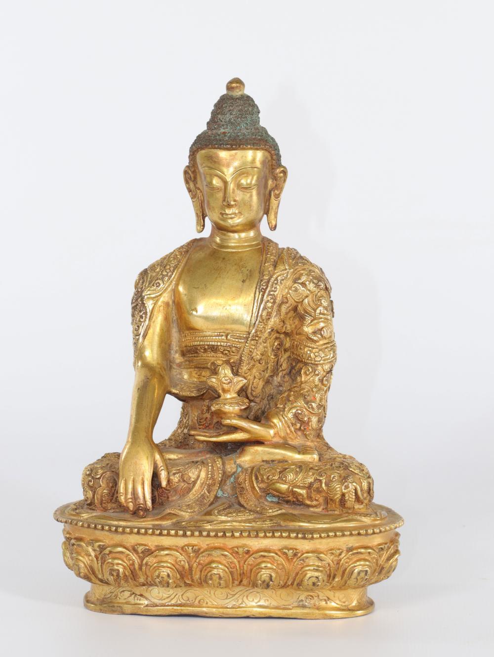 China Tibet Buddha in gilded bronze Sizes: H=200mm L=140mm Weight (K): 1,62kg Conditi