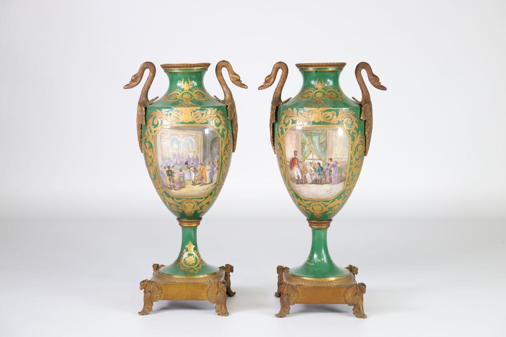 Sevres pair of Empire style casseroles (accidents on the lids) Sizes: H=340mm L=120mm Weig