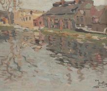 "Emmanuel MEURIS (1894-1969) oil on panel""landscape"" signed and dated 1920"