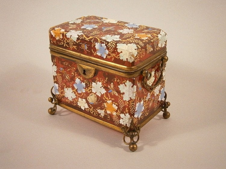 A fine Moser type Bohemian ruby glass casket, late