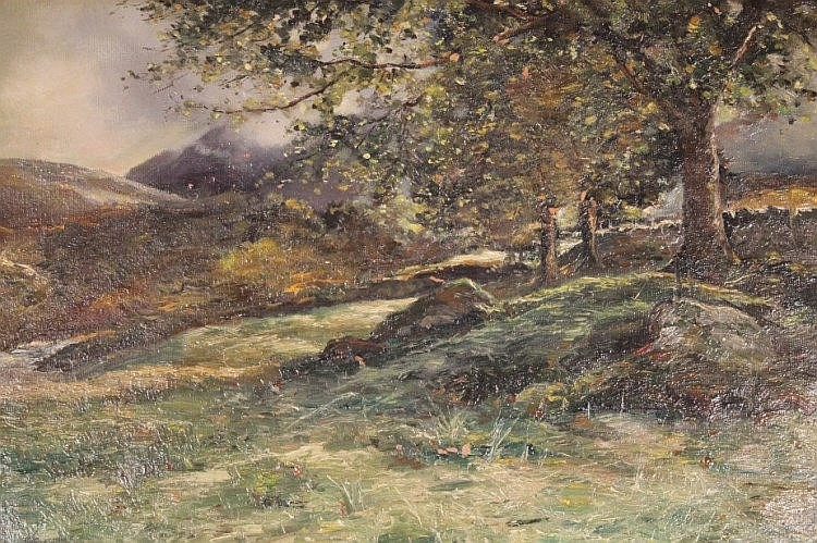 John Cairney (19thC). Landscape trees before hills and mountains