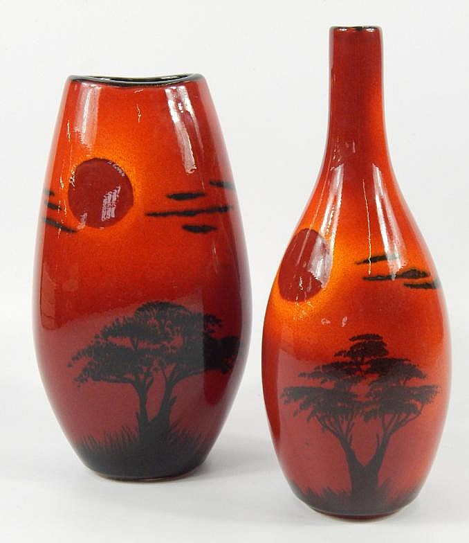 Two Poole Pottery Vases By Andrew Tanner 28cm H
