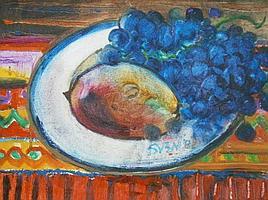 Sven Berlin (1911-1999). Fruit still life, oil on