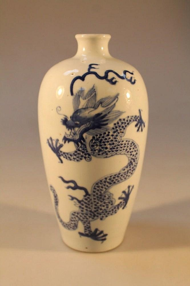 A Chinese blue and white baluster vase decorated
