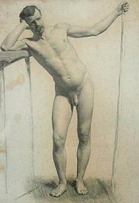 Harold Knight (1874-1961). Standing male nude,