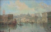 James Salt (1850-1903). Venice lagoon, oil on pane