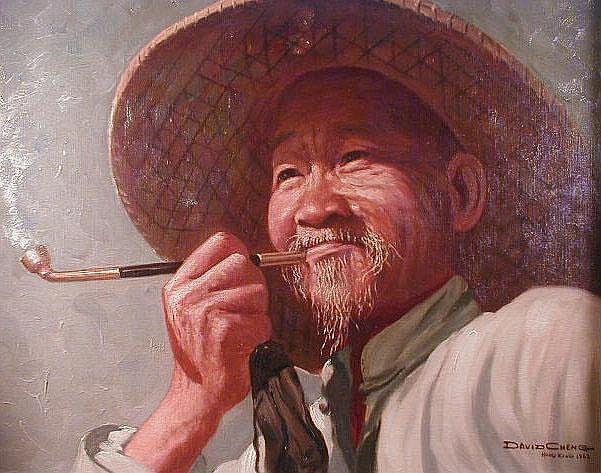 David Cheng. Portrait of an elder gentleman in a
