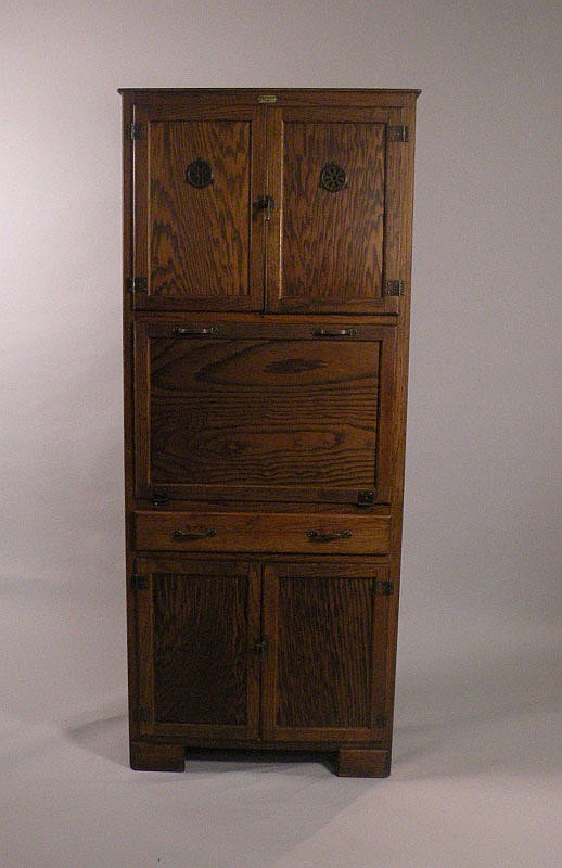 a 1920 39 s oak maid saver kitchen cabinet made by. Black Bedroom Furniture Sets. Home Design Ideas