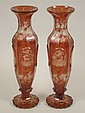 A pair of late 19thC Bohemian ruby flash vases,